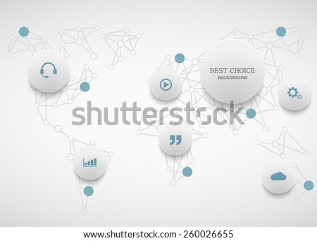 Vector modenr social network infographic. Map background - stock vector