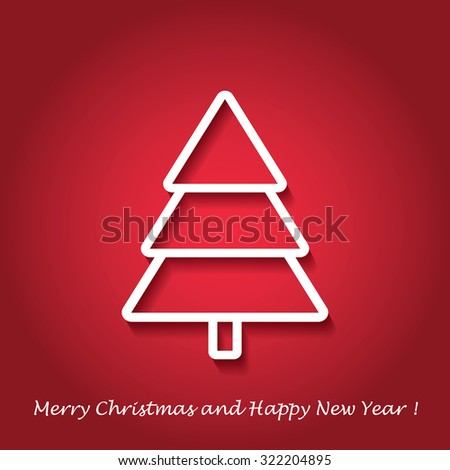Vector modern abstract Christmas tree background. Linear design. Greeting card with Christmas tree  - stock vector