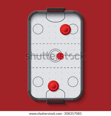 vector modern air hockey table on red background - stock vector
