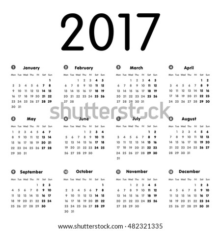Vector modern and simple calendar 2017, well arranged, in grey and black. Eps 10 vector file.