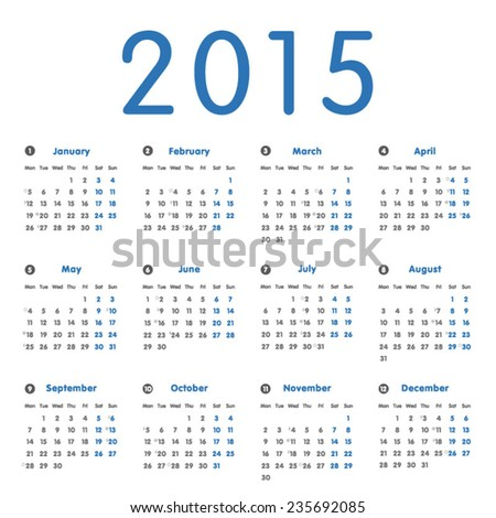 Vector modern and simple calendar 2015 with moon phases, well arranged, in blue and grey. Eps 10 vector file.  - stock vector