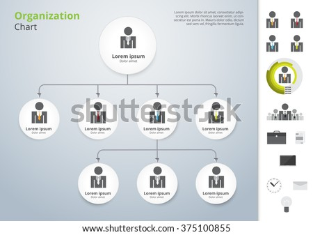 Vector modern and simple organization chart template. vector illustration. - stock vector