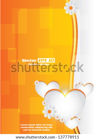 Vector modern background / poster design with hearts and flowers - stock vector