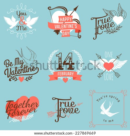 Vector modern badges and labels on valentines day | Set of nine love and relationship related design items on blue background - stock vector