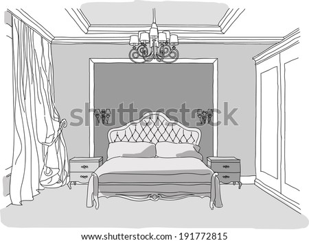 Vector modern bedroom interior, sketchy style, in black and white - stock vector