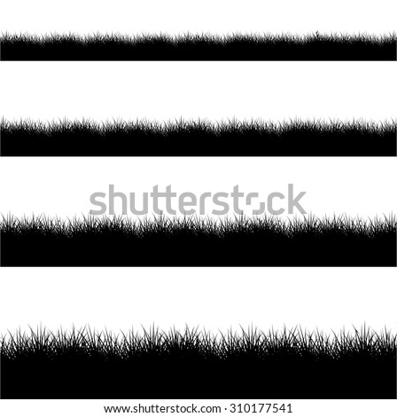 Vector modern black grass silhouette set on white background - stock vector
