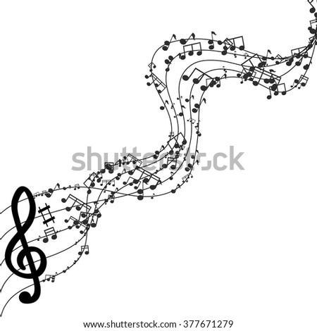 Vector modern black music background design. Eps10 - stock vector