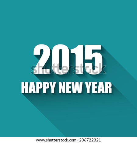 Vector Modern blue simple Happy new year card (2015) with a long shadow effect - stock vector