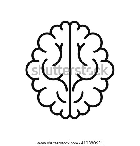 Vector modern brain black icon isolated on white background - stock vector