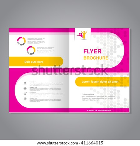 Vector modern brochure, abstract flyer, simple dotted design with rounded shapes. Layout template. Aspect Ratio for A4 size. Poster of pink, yellow, grey and white color. Magazine cover.   - stock vector
