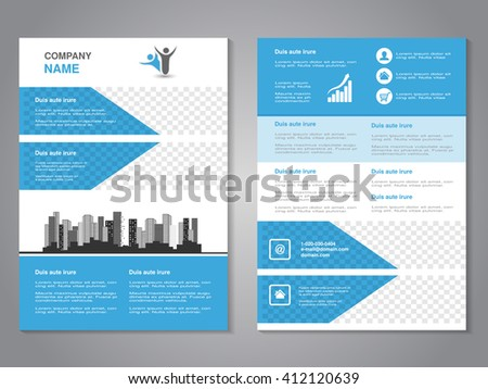 Vector modern brochure, abstract flyer with background of monochrome buildings. Layout template. Aspect Ratio for A4 size. Poster of blue, grey, black and white color. Magazine cover.