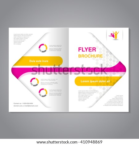 Vector modern brochure, abstract flyer with dotted design in a square.  Layout template. Aspect Ratio for A4 size. Poster of pink, yellow, grey and white color. Magazine cover.