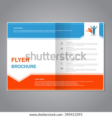 Vector modern brochure, abstract flyer with simple design. Layout template with arrow. Aspect Ratio for A4 size. Poster of blue, orange, grey and white color. Magazine cover.