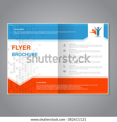 Vector modern brochure, abstract flyer with simple dotted design. Aspect Ratio for A4 size. Poster of blue, grey, white and orange color. Layout template, magazine cover, book cover. - stock vector