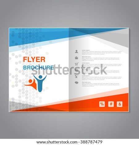 Vector modern brochure, abstract flyer with simple dotted design. Aspect Ratio for A4 size. Poster of blue, grey, white and orange color. Layout template, magazine cover.