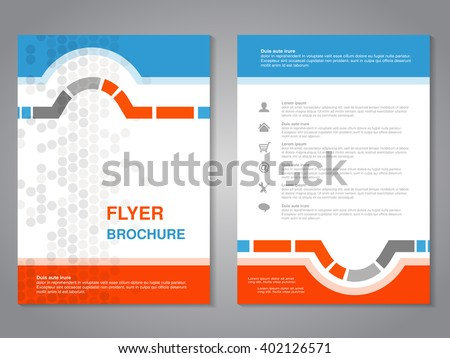 Vector modern brochure, abstract flyer with simple dotted design. Layout template. Aspect Ratio for A4 size. Poster of blue, orange, gray and white color. Magazine cover. - stock vector