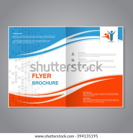 Vector modern brochure, abstract flyer with simple dotted design. Layout template with waves. Aspect Ratio for A4 size. Poster of blue, orange, grey and white color. Magazine cover with human symbol. - stock vector