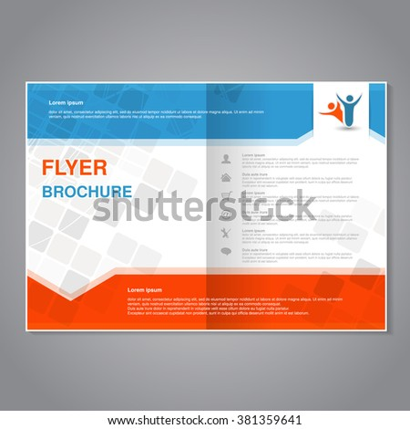 Vector modern brochure, abstract flyer with simple modern design. Aspect Ratio for A4 size. Poster of blue, grey, white and orange color. Layout template, magazine cover. - stock vector