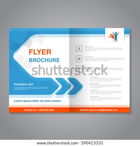 Vector modern brochure, abstract flyer with simple square design. Layout template with arrow. Aspect Ratio for A4 size. Poster of blue, orange, grey and white color. Magazine cover with human symbol.  - stock vector