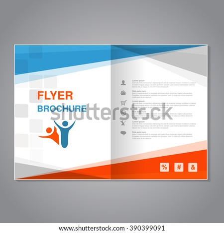 Vector modern brochure, abstract flyer with simple squared design. Layout template with triangles. Aspect Ratio for A4 size. Poster of blue, orange, grey and white color. Magazine cover.