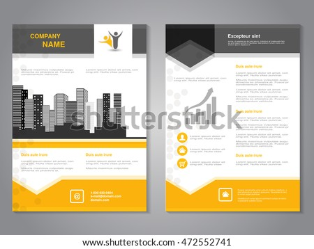 Vector modern brochure with arrow design, abstract flyer with background of monochrome buildings. Layout template. Aspect Ratio for A4 size. Poster of yellow, grey, black, white color. Magazine cover.