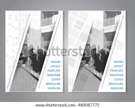 Vector modern brochure with strip design, abstract flyer with background of monochrome city street. Layout template. Aspect Ratio for A4 size. Poster of grey, black and white color.