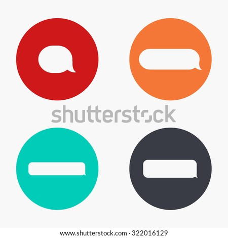Vector modern bubble speech colorful icons set on white background - stock vector