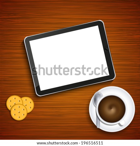Vector modern business background. Computer tablet with coffee and crackers on wood - stock vector