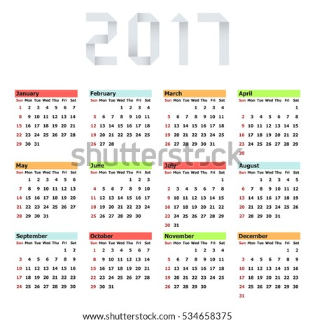 Vector modern calendar 2017 on white background