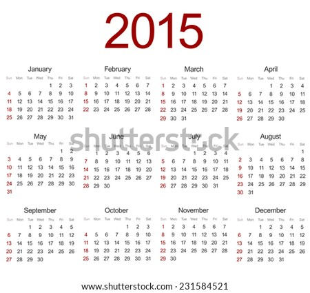 Vector modern 2015 calendar on white background. Eps 10 - stock vector