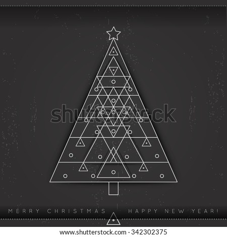 Vector modern card with abstract linear geometry Christmas tree. Merry Christmas and happy new year holiday greeting card. Line style - stock vector