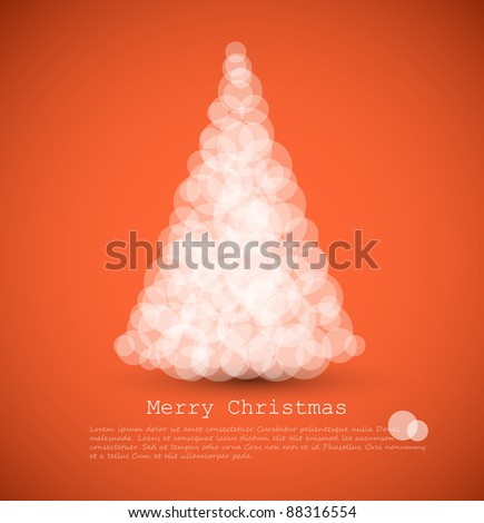 Vector modern card with abstract white christmas tree on a red  background - stock vector
