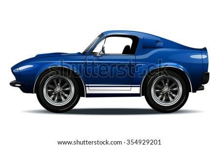 Vector modern cartoon car, muscle car - stock vector