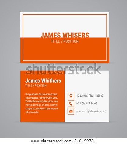 Vector Modern Clean Business Card Design Template Set With Orange Background Flat