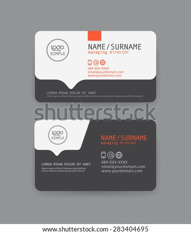 Vector modern clean business card template. Flat design - stock vector