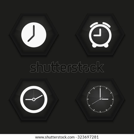 Vector modern clock icons set on background - stock vector