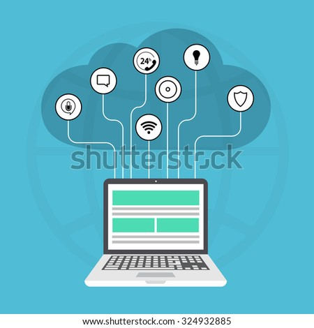 Vector modern cloud services flat background. Laptop with icons on blue - stock vector