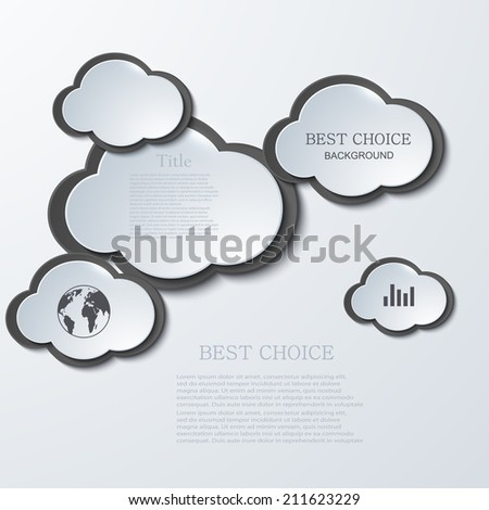 vector modern clouds infographic background. Eps 10