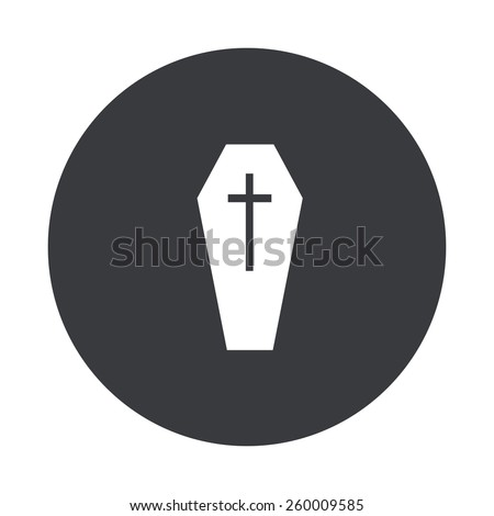 Vector modern coffin gray circle icon on white background - stock vector