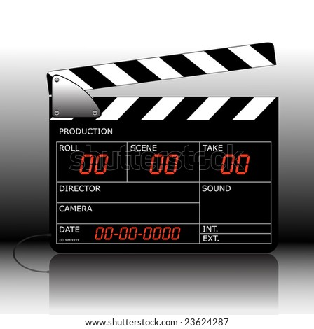 Vector modern colored clapperboard with whiteboard. - stock vector