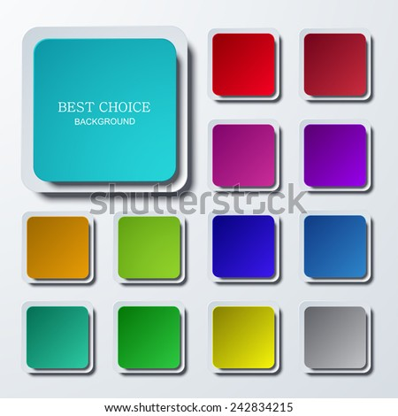 Vector modern colorful square icons set on gray background. Eps10