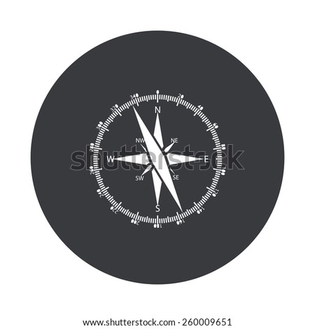 Vector modern compass gray circle icon on white background - stock vector