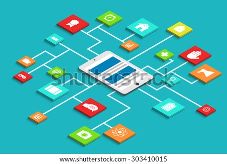 Vector modern concept 3d isometric smartphone infographic with app - stock vector