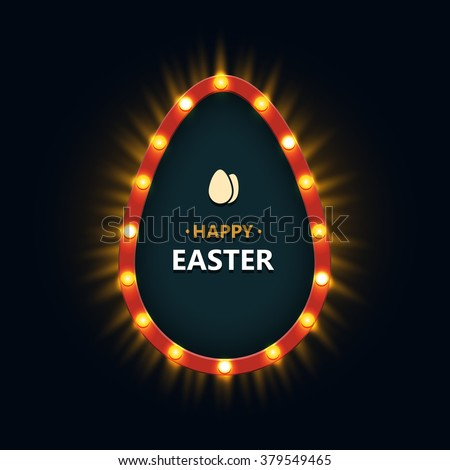 Vector modern concept egg and retro light banner. Easter billboard - stock vector