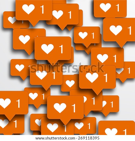 Vector modern concept heart with bubble speech. like background - stock vector
