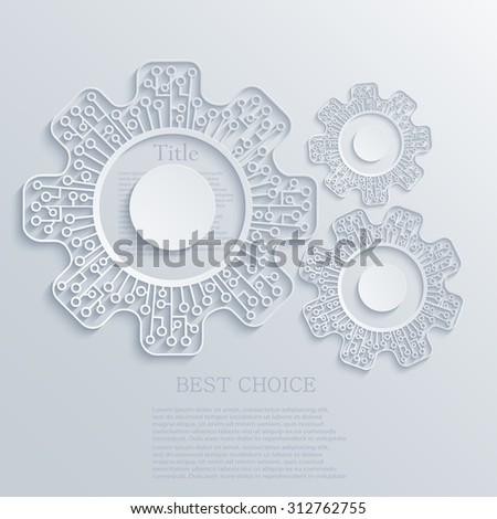 Vector modern concept mechanism and circuit board background - stock vector
