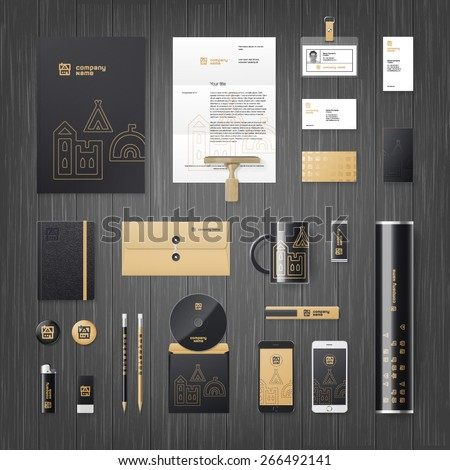 Vector modern corporate identity template for real estate or travel agency - stock vector