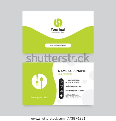 Vector modern creative clean business card stock vector 773876281 vector modern creative and clean business card template flat design green color and food symbol wajeb Image collections