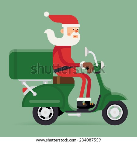 Vector modern creative Christmas concept illustration featuring Santa Claus riding green delivery scooter | Xmas character Santa Claus on green moped - stock vector