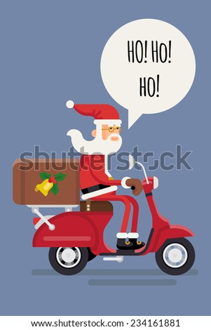 Vector modern creative christmas concept illustration featuring Santa Claus rinding red delivery scooter isolated and text bubble with 'Ho Ho Ho' title | Xmas greeting card cover template - stock vector